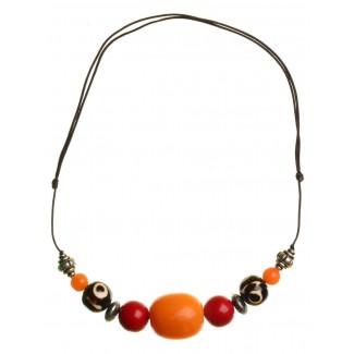 Mittelalter Halskette Sif aus Weißmetall-Resin in Bernsteinfarben-Rot Frontansicht
