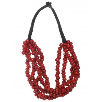 Mittelalter Halskette Engesilors aus Resin in Rot Frontansicht