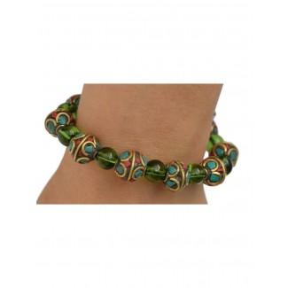 Mittelalter Armband Gyburg mit Mosaikperlen aus Messing-Glassteine in Perlmutfarben-Rot-Türkis Frontansicht 2