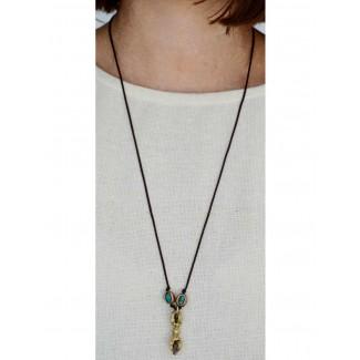Wikinger Halskette Karke mit Talisman Dorje aus Messing in Goldgelb Frontansicht 3