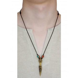 Wikinger Halskette Birkhilt mit Talisman Phurpa aus Messing in Goldgelb Frontansicht 3