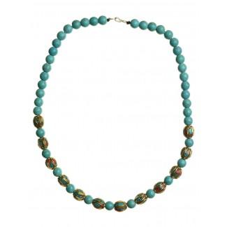 Mittelalter Halskette Blubena Türkis aus Messing-Glassteine in Türkis Frontansicht