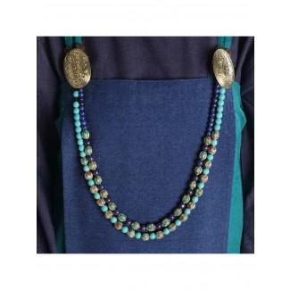 Mittelalter Halskette Blubena Türkis aus Messing-Glassteine in Türkis Frontansicht 4