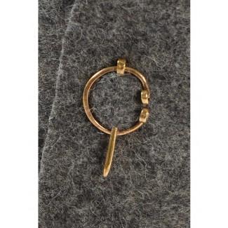 Mittelalter Fibel Tyr (Set) 3 cm aus Messing in Golden Frontansicht 3