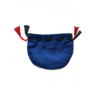 Mittelalter Almosenbeutel Kyot 9X13 cm in Blau Frontansicht 2