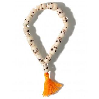 Wikinger Armband Pant mit Totenköpfen aus Horn in Beige Frontansicht