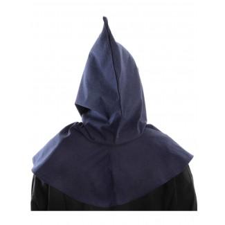 Mittelalter Kapuze Elida in Blau Rückansicht