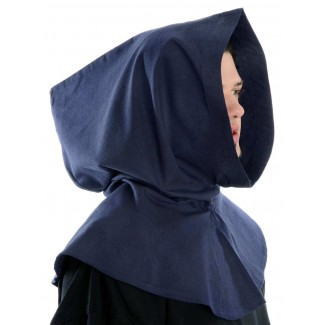Mittelalter Kapuze Elida in Blau Seitenansicht