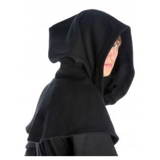 Mittelalter Kapuze Anfole in Schwarz Seitenansicht