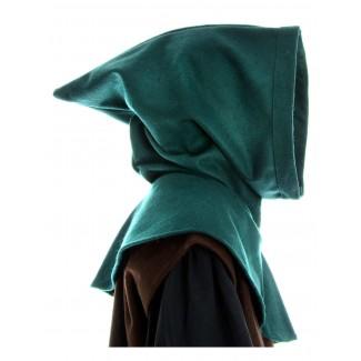 Mittelalter Kapuze Anfole in Grün Seitenansicht