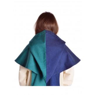 Mittelalter Kapuze Imane in Blau-Grün Rückansicht