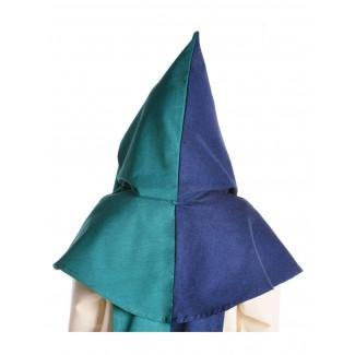 Mittelalter Kapuze Imane in Blau-Grün Rückansicht 2