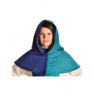Mittelalter Kapuze Imane in Blau-Grün Frontansicht