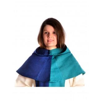 Mittelalter Kapuze Imane in Blau-Grün Frontansicht 2