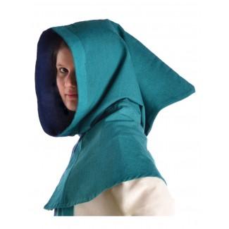 Mittelalter Kapuze Imane in Blau-Grün Seitenansicht