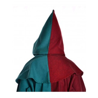 Mittelalter Kapuze Imane in Rot-Grün Rückansicht
