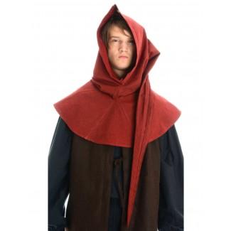 Mittelalter Gugel Aldrian in Rot Frontansicht