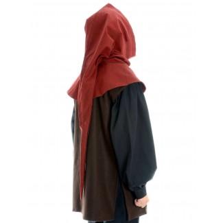 Mittelalter Gugel Aldrian in Rot Seitenansicht