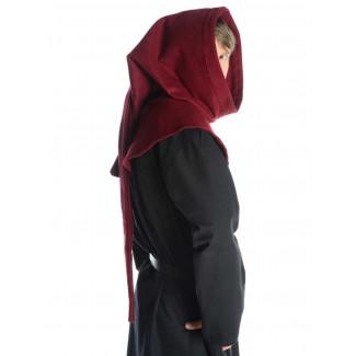 Mittelalter Gugel Mahaute in Rot Seitenansicht