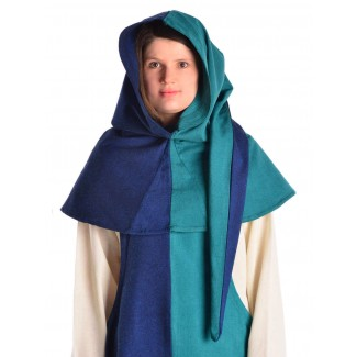 Mittelalter Gugel Arabel in Blau-Grün Frontansicht