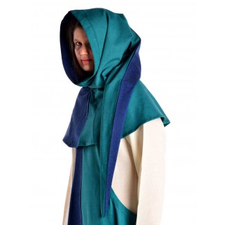 Mittelalter Gugel Arabel in Blau-Grün Seitenansicht 2