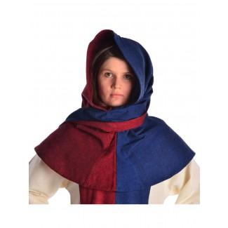 Mittelalter Gugel Arabel in Rot-Blau Frontansicht