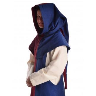Mittelalter Gugel Arabel in Rot-Blau Seitenansicht