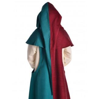 Mittelalter Gugel Arabel in Rot-Grün Rückansicht