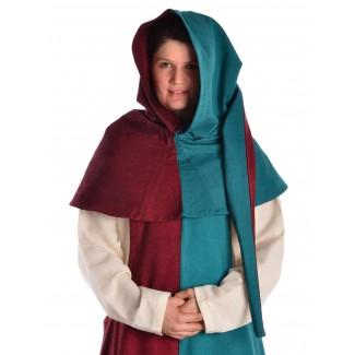 Mittelalter Gugel Arabel in Rot-Grün Frontansicht