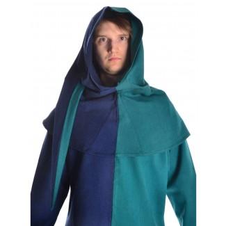 Mittelalter Gugel Etzel in Blau-Grün Frontansicht