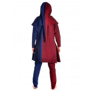 Mittelalter Gugel Etzel in Rot-Blau Rückansicht