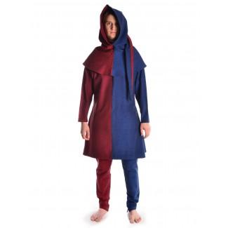 Mittelalter Gugel Etzel in Rot-Blau Frontansicht