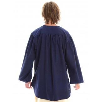 Mittelalter Schnürhemd Parzival in Blau Rückansicht