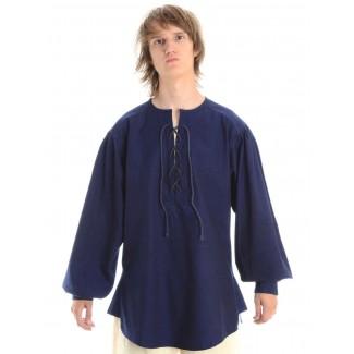Mittelalter Schnürhemd Parzival in Blau Frontansicht
