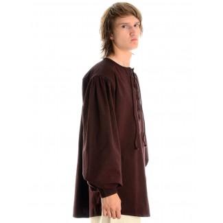 Mittelalter Schnürhemd Parzival in Braun Seitenansicht