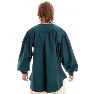 Mittelalter Schnürhemd Parzival in Grün Rückansicht