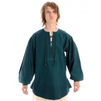 Mittelalter Schnürhemd Parzival in Grün Frontansicht