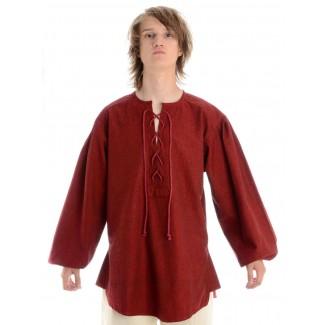 Mittelalter Schnürhemd Parzival in Rot Frontansicht