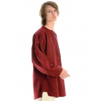 Mittelalter Schnürhemd Parzival in Rot Seitenansicht