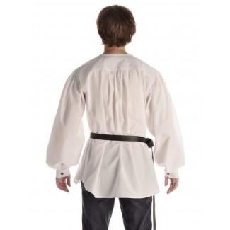 Mittelalter Schnürhemd Parzival in Weiß Rückansicht