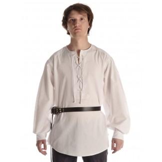 Mittelalter Schnürhemd Parzival in Weiß Frontansicht