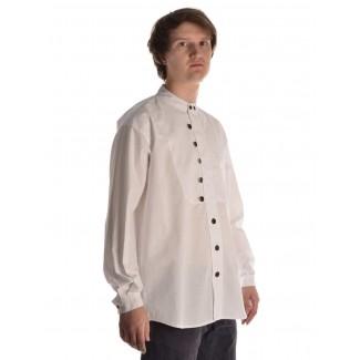 Mittelalter Hemd Iwein in Weiß Seitenansicht