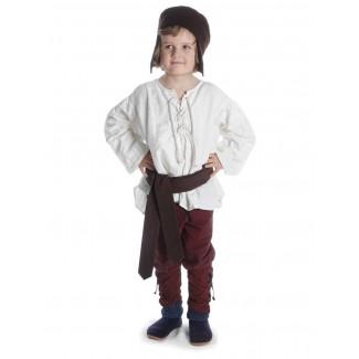 Mittelalter Kinderhemd Parzival in Beige Frontansicht 6