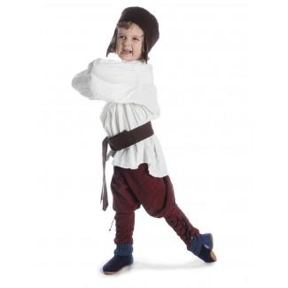 Mittelalter Kinderhemd Parzival in Beige Seitenansicht 4