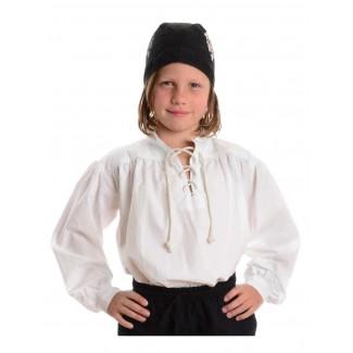 Mittelalter Kinderhemd Klingsor in Weiß Frontansicht