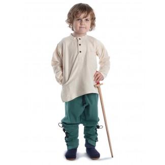 Mittelalter Kinderhemd Anfortas in Beige Frontansicht