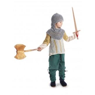 Mittelalter Kinderhemd Anfortas in Beige Frontansicht 5