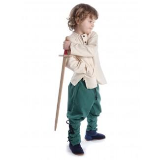 Mittelalter Kinderhemd Anfortas in Beige Seitenansicht 3