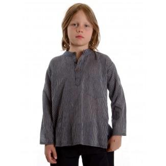 Mittelalter Kinderhemd Anfortas in Blau-Weiß gestreift Frontansicht