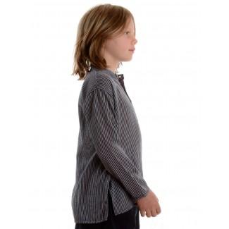 Mittelalter Kinderhemd Anfortas in Blau-Weiß gestreift Seitenansicht